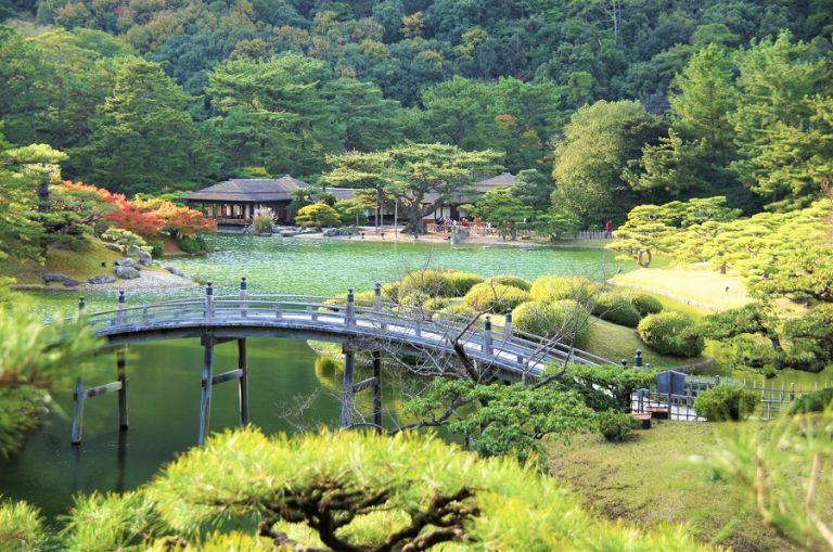 Ritsurin Koen Park landscape garden in Japan