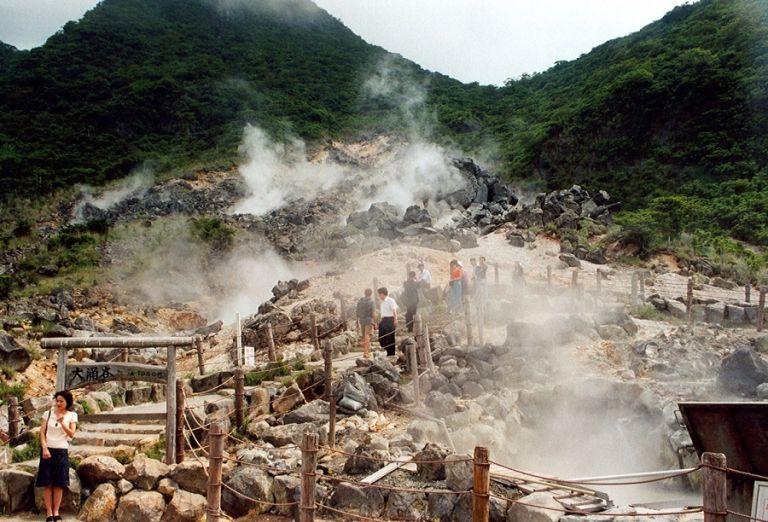 Owakudani hiking trails volcano valley sulphur farms