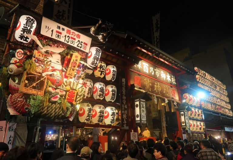 Tori no Ichi Festival Fall Festivals in Japan Things to Do in Tokyo Temples in Asakusa Tradtional Japanese Culture Autumn Festivals in Japan Japanese Matsuri Japanese Festivals Things to Do in Japan in November Japanese Businessmen