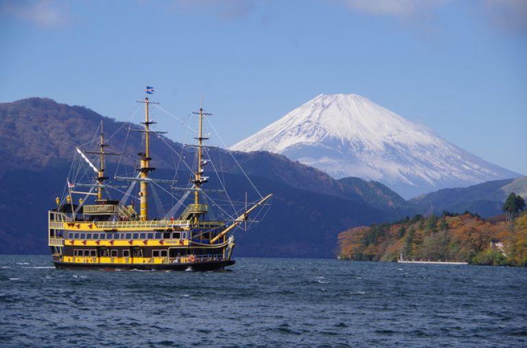 Hakone Lake Ashi pirate ship cruise ship Mount Fuji in background