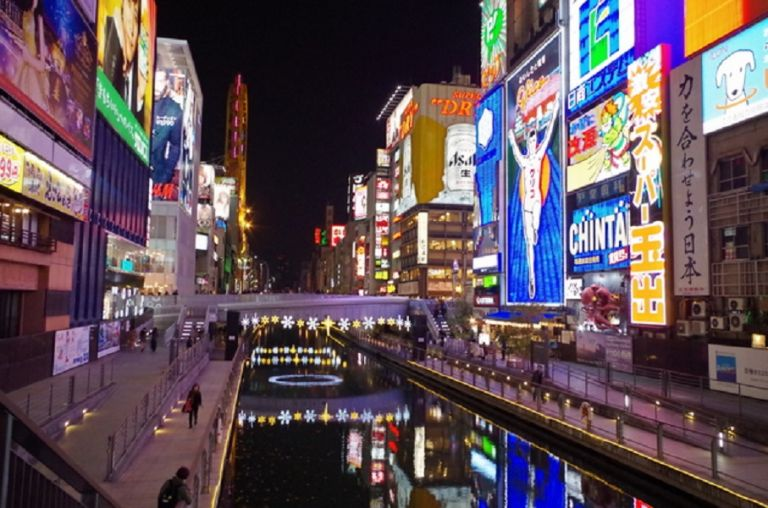 Dotonbori Shinsaibashi Osaka shopping street canal Glico Man